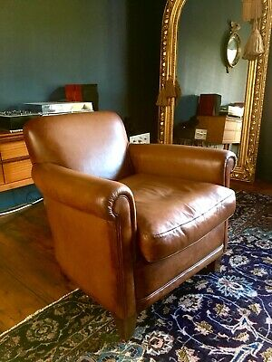 Laura Ashley Burlington Brown Leather Club Chair Armchair