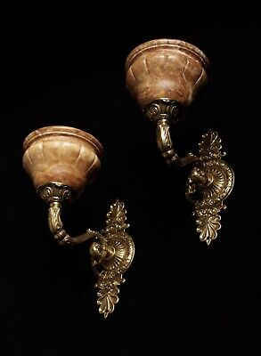 pair of  spanish Alabaster wall lights sconces solid  bronze candelabra