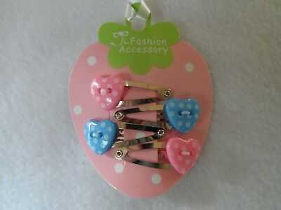 girls/ baby small/ mini hair clips/ snap clips/slides,polka dot hearts 4pc set