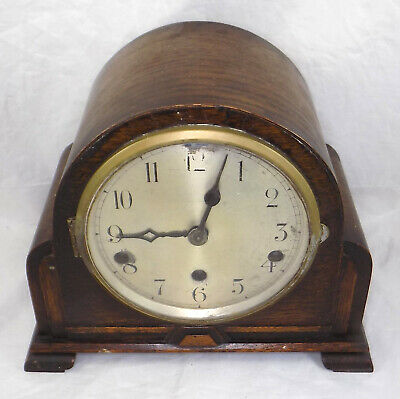 Westminster Chime Oak Case Mantel Clock - Working - Spares Or Repair