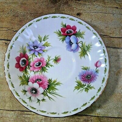 Royal Albert Anemones Flower of the Month Series Bone China Saucer England 1970
