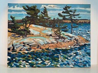 LANDSCAPE Phil Chadwick Canadian Oil Painting FLAGGED PINES Group of Seven