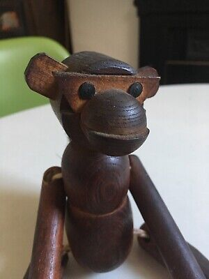 Vintage Mid Century Wooden Articulated Hanging Danish Style Monkey With Brush