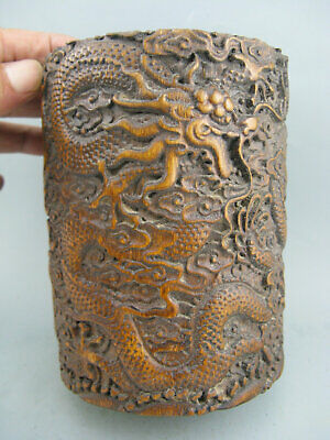 Antique Chinese Old Bamboo Hand Carved Dragon Brush Pot Statue