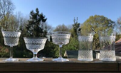 5 Vintage Edwardian Pallmall Lady Hamilton Mixed Glasses Tumblers Champagne Wine
