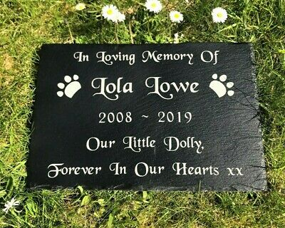 Personalised Engraved Large Slate Headstone Grave Marker Plaque Dog Cat