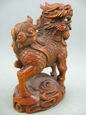 Antique Rare Chinese old Boxwood Hand Carved Kylin Netsuke Statue
