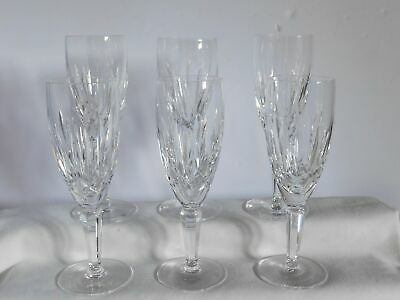 """6 Waterford Crystal Lismore Nouveau 7 3/8"""" Champagne Flutes Glasses"""