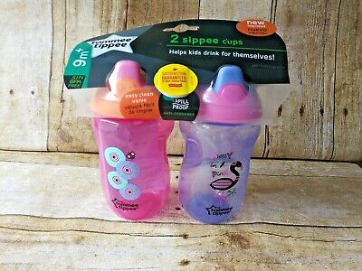 Tommee Tippee Sippee Cup 9m+ Pink and Purple 10 Ounce 2 Pack Sippy Baby Toddler
