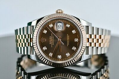 ff68322583cb6 Rolex DateJust 41 Chocolate 10 Diamond Dial 18k Everose Box and Card Ref.  126331