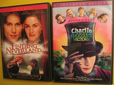 2 DVD AUCTION Charlie and the Chocolate Factory & Finding Neverland Johnny Depp