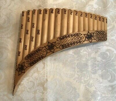 Wooden Pan Flute European Handmade Instrument With Pyrography Decoration