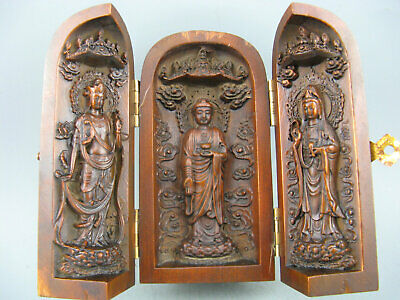 Antique Chinese old Boxwood Hand Carved Kwan-yin Buddha Statue Ornament Box