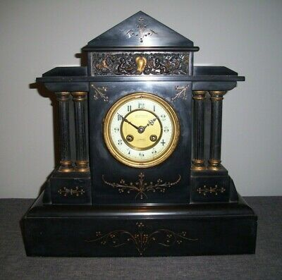 Antique Victorian 19th Century Slate Architectural Mantel Clock with 4 Columns