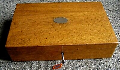 Antique Canteen Silver Plated Cutlery Super Oak Box With Key 62 Pieces Ashberry