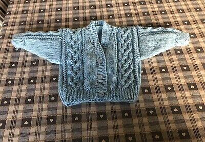 Hand Knitted Cable Knit Cardigan Approx 0-3 Months