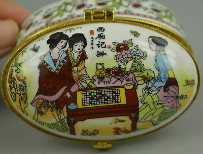 AAA Decorate China Porcelain Paint Classical Belle Play Chess Unique Jewel Box
