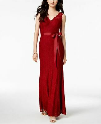 $360 Adrianna Papell Womens Red Lace V-Neck Sleeveless Gown Formal Dress Size 8