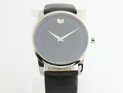 Movado Museum Stainless Mens Watch w Leather Band & Box 07.1.14.1142 Swiss