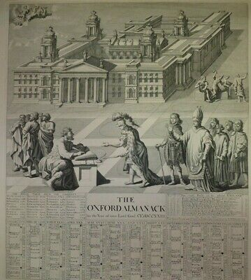 Engraving 1723 Charles I Brasenose College Oxford Almanac Year Of Our Lord God