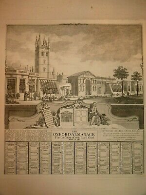 Antique Etching 1766 Physic Gardens Oxford Almanac For The Year Of Our Lord God