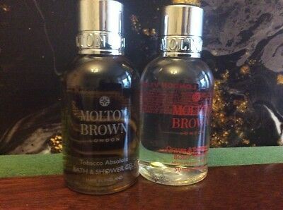 2 x Molton Brown 50ml  - Tobacco Absolute Shower Gel + Ginger & Bergamot Body