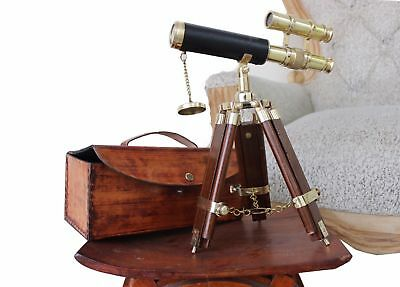 Vintage Brass Maritime Telescope Gift Love Nautical Hand Leather Bag Antique