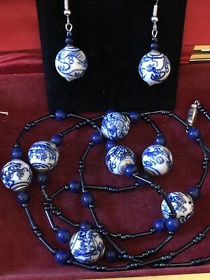 Vintage blue white dragon hand paint porcelain bead necklace and earring set