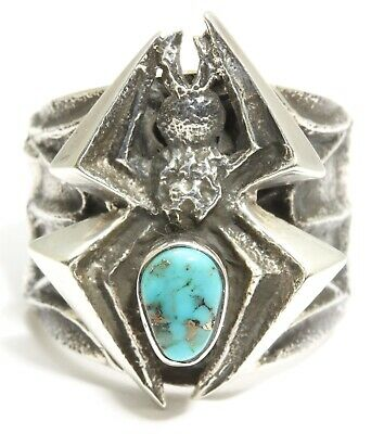 KEVIN YAZZIE Sterling Silver Tufa Cast Ornate Blue Turquoise Spider Web Ring s10