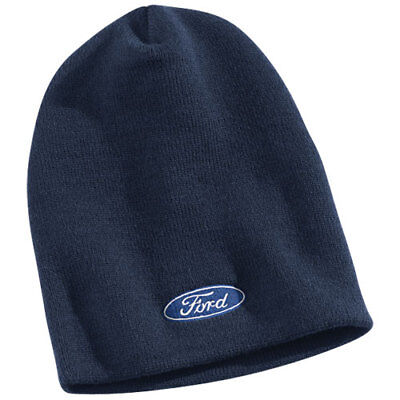 Brand New Blue Ford Motor Company Embroidered Blue Oval Beanie Hat Cap!
