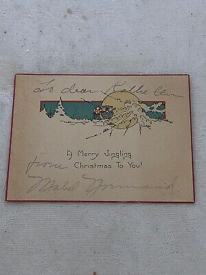 Charming Mabel Normand Inscribed Christmas Card!!