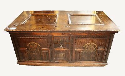 A Highly Decorative Walnut Coffer Of Large Proportions