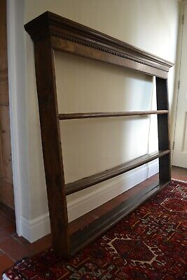 Antique Oak Large Plate Rack Shelves