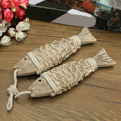 Household Nautical Hand Carved Wood Fish Set Wall Hanging Decor Bedroom G