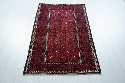 5.31 × 3.11ft Red Tribal Antique Hand Knotted Persian Rug, Vintage Area Rug