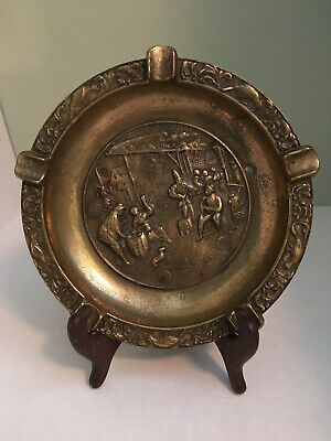 Vintage Solid Brass 8-Inch Round Ashtray 1950's High Relief Medieval Scene MCM