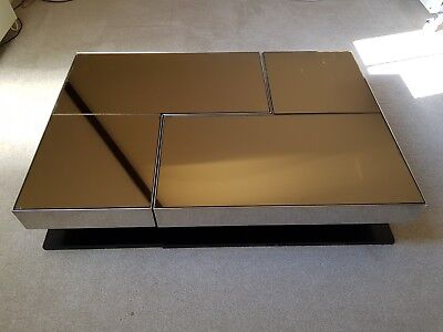 Willy Rizzo style coffee table. Vintage 70's Italian. Smoked mirror and chrome.