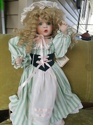 "Wendy Lawton Porcelain Doll 16"" Blonde Curl hair Green Eyes Crying Tears w stand"