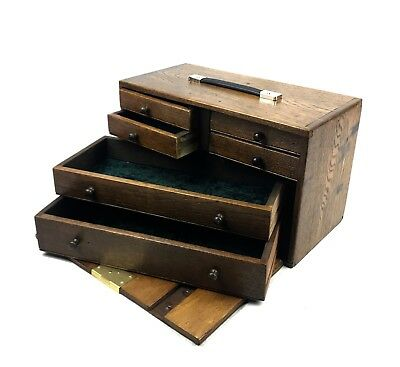 Antique Wooden Watchmakers Box / Cabinet / Collectors Chest Engineers Tool Case
