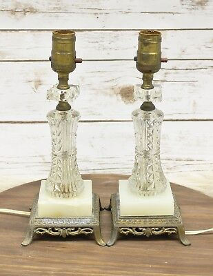 """Vintage Crystal Brass Table Lamp Hollywood Regency Style Glass Set Of 2 12"""" Tall"""