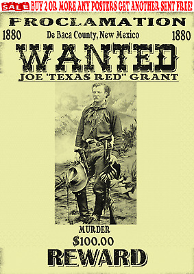 Old West Wanted Poster Outlaw Lawman Western Cowboy Reward