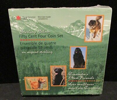 4 1997 CANADA 50C PROOF COINS ✪ BEST FRIENDS DOGS ✪ STERLING SILVER ◢TRUSTED◣