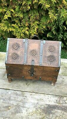Beautiful Vintage Hand Made Carved Wooden Storage Box With Metal Edges *