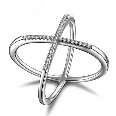 ZARD Women 925 Silver Plated High Quality CZ Crystals Criss Cross X Ring