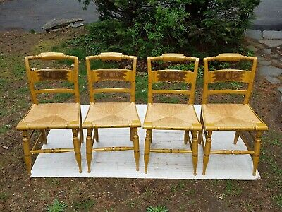 Signed Hitchcock Set Of 4 Vintage Musterd Yellow Rush Country Side Chairs