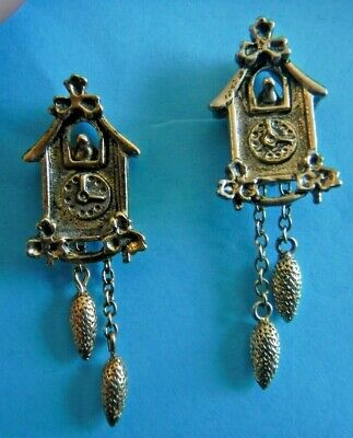 2~Miniature~Vintage Style Cuckoo Clocks~Gold~Silver~Chained Pine Cones~Pin backs