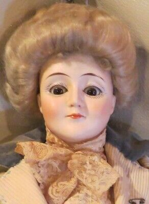 """Antique 20"""" German Bisque Rare Closed Mouth 172 Gibson Girl Kestner Lady Doll"""