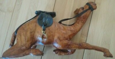 "Camel Made of Leather, 8"" Long, 5"" High, With Faux Leather Saddle & Reins"