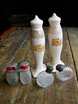 Lot Of 3 Sets Of Glass Antique Salt And Pepper Shakers Floral & Etched Glass