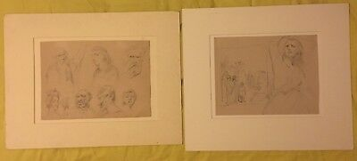 Antique Drawing Edouard De Jans Belgian 1855 1919 Pencil Signed And 1 Attributed